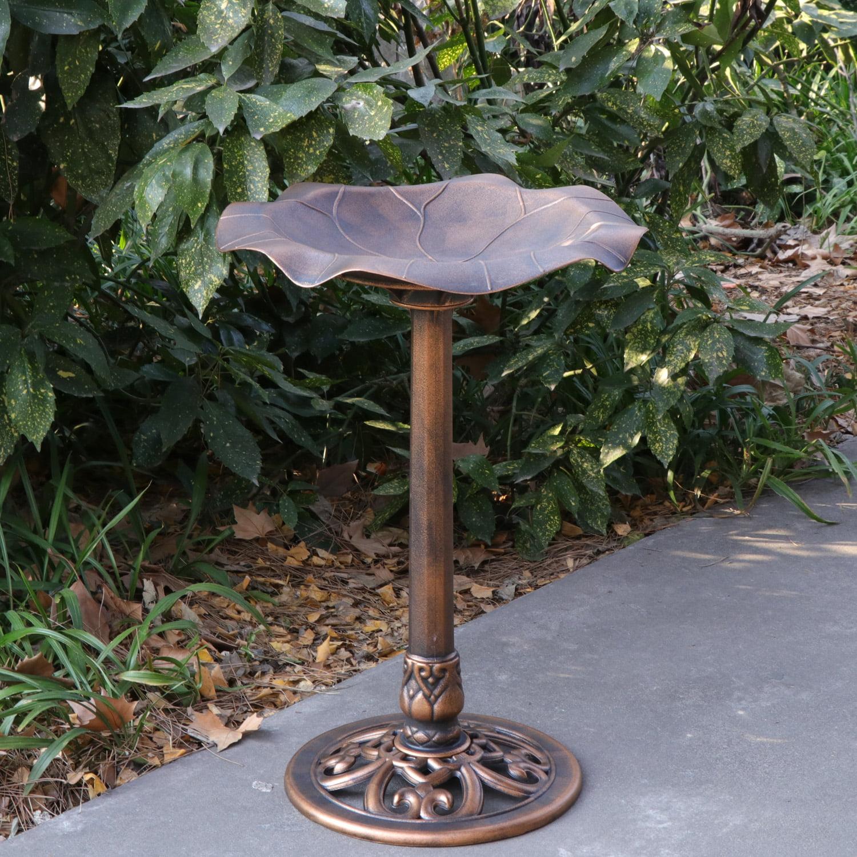 ZENY Outdoor Floral Leaf Pedestal Bird Bath Garden Decor - Copper Resin Birdbath