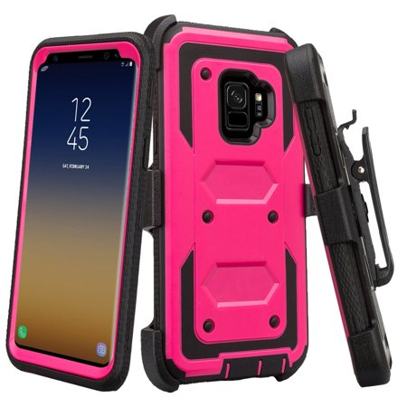Holster Belt Clip Combo Compatible for Samsung Galaxy S9 Case, with Full Screen Temper Glass Screen Protector Phone Case Cover - Hot Pink Hot Pink Protector Cover