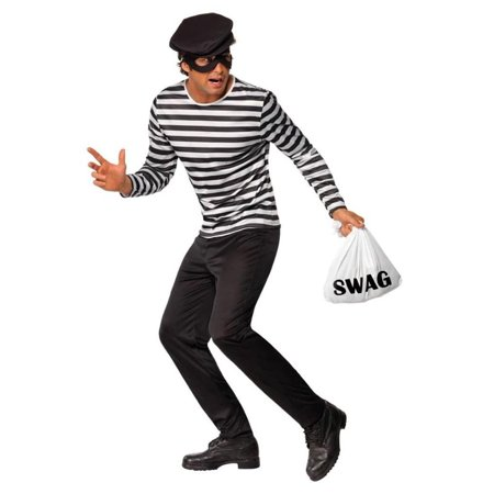 Classic Black & White Striped Bank Robber Costume Adult Large - Bank Robber Halloween