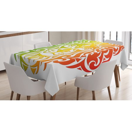 Rasta Tablecloth, Lion Portrait in Vivid Colors Portrait Head King of Jungle Image, Rectangular Table Cover for Dining Room Kitchen, 60 X 84 Inches, Green Yellow Red and Orange, by Ambesonne - Lion King Table Cover