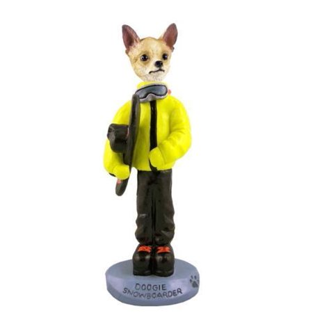 No.Doog06B101 Chihuahua Tan/White Snowboarder Doogie Collectable Figurine