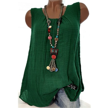 Solid Color Cotton Tank Tops Casual Round Neck Blouse Sleeveless T-shirt Camisole Plus Size S-5XL