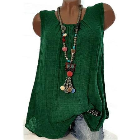 Solid Color Cotton Tank Tops Casual Round Neck Blouse Sleeveless T-shirt Camisole Plus Size S-5XL (Avenue Cotton Blouse)