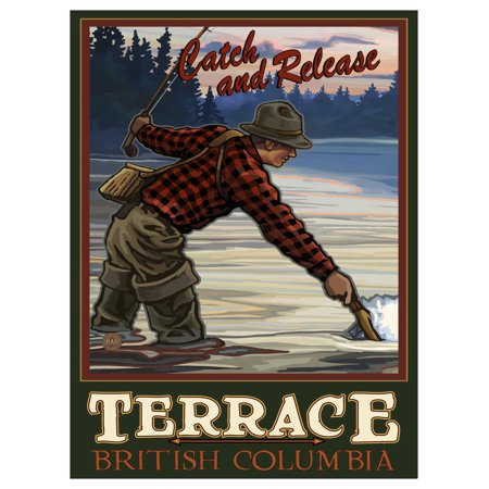 Terrace British Columbia Canada Evening Fly Fisherman Travel Art Print Poster by Paul A. Lanquist (9