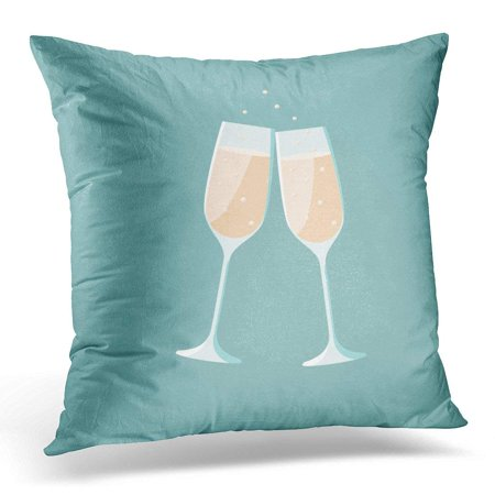 CMFUN White Toast Wedding Champagne Flat Illustrator Blue Cheers Pillows case 20x20 Inches Home Decor Sofa Cushion Cover ()