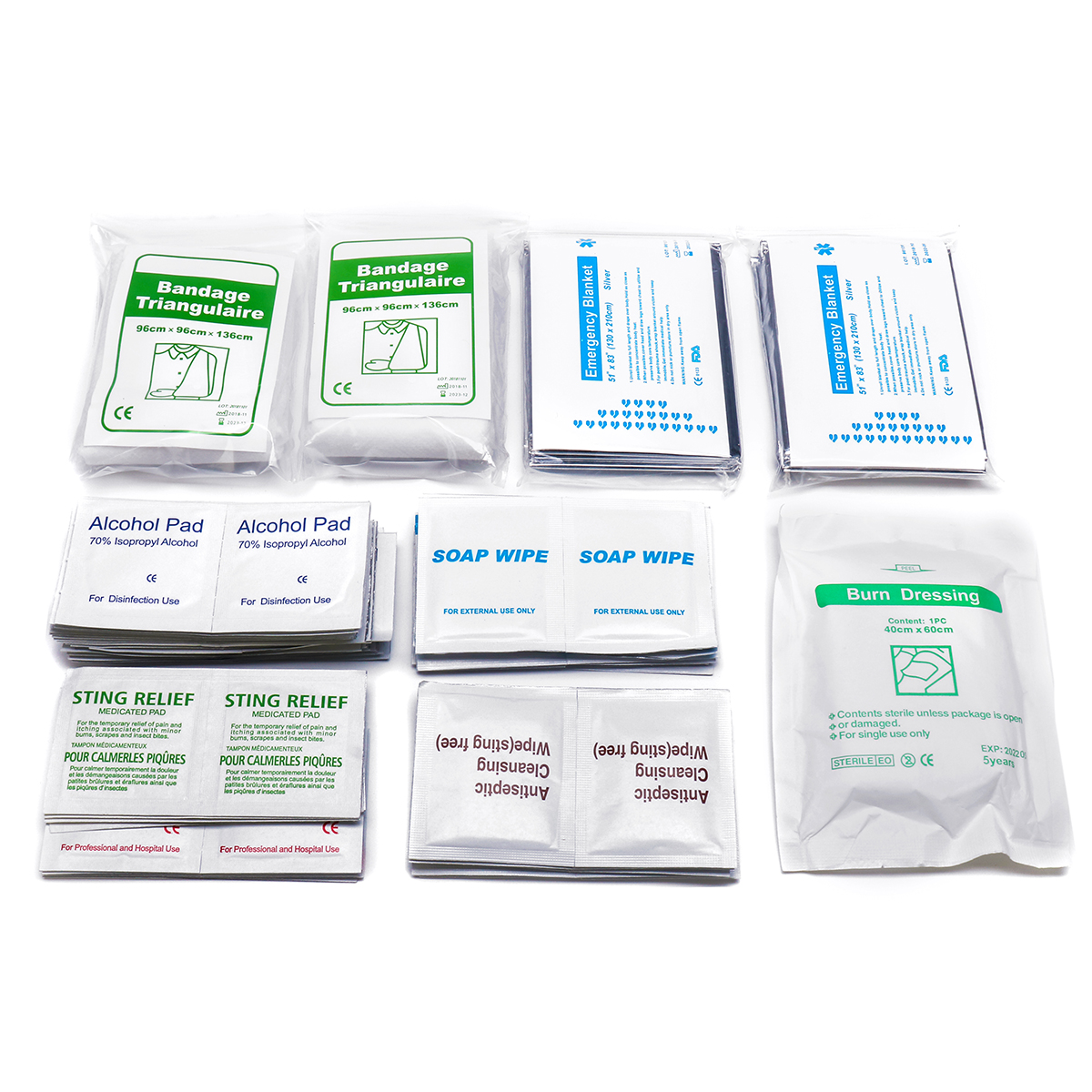 10 x Survival Safety Emergency Blanket /& 100 pcs First Aid Alcohol Pad Swab Wipe