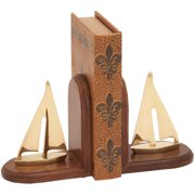 Decmode Wood and Brass Bookend Pair, Multi Color