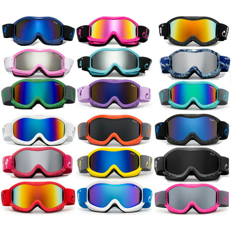 Cloud 9 - Kids Boys & Girls Professional SKi Goggles Anti-Fog UV400 Protection Wind Proof Dual Lens Triple Face Foam Winter Snow Goggles for Girls & Boys (1 PAIR ONLY, (Purple Kids Goggles)