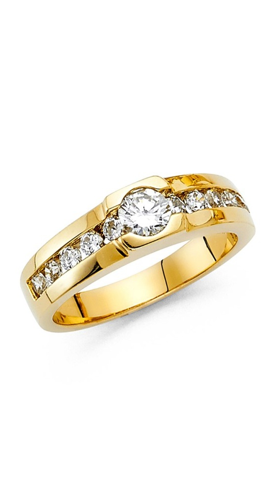 Men's 7mm 14K Solid Yellow Gold Channel Set Ring, Size 13.5 by Paradise Jewelers