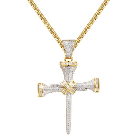 Nail Cross Pendant Sterling Silver 14k Gold Finish Simulated Diamonds 24