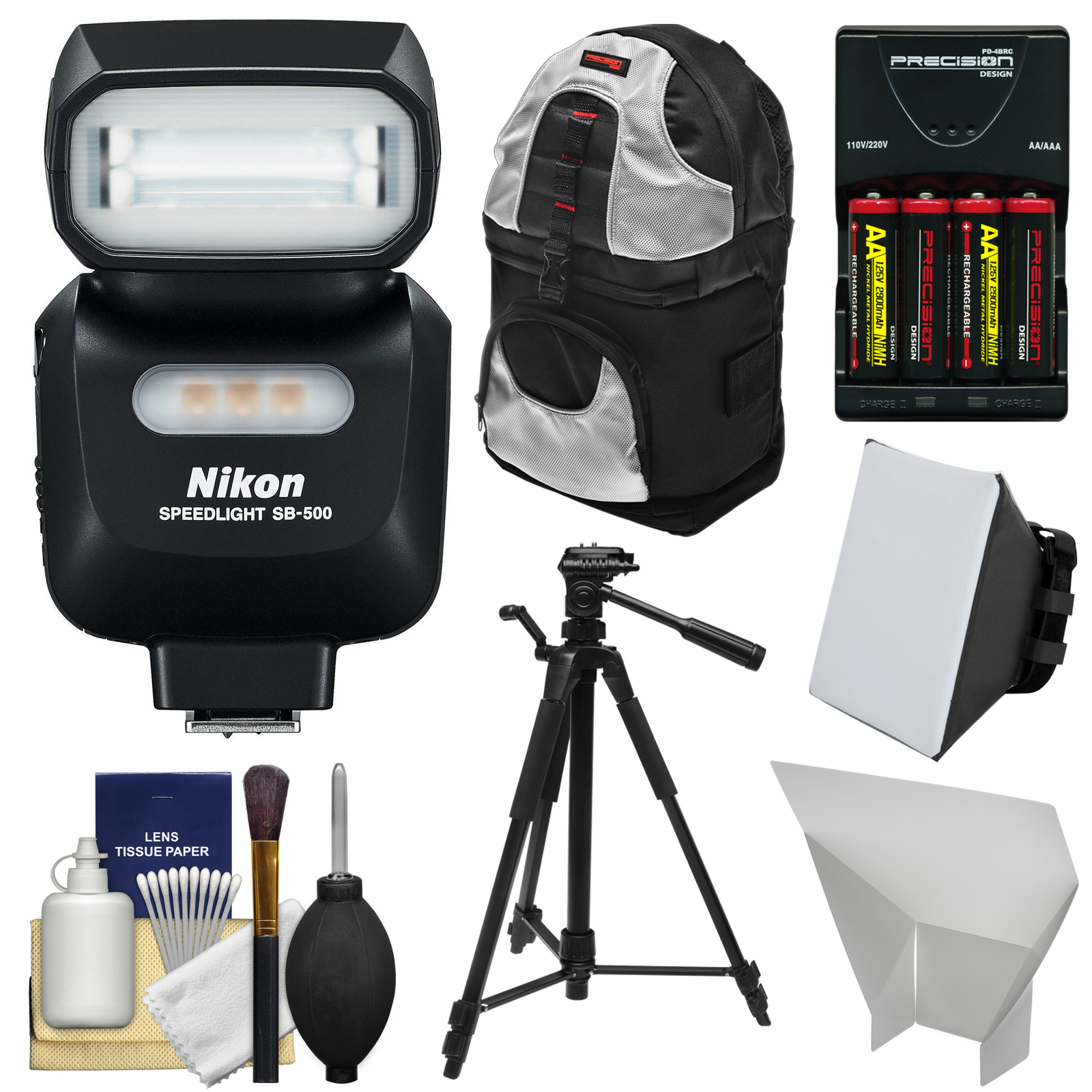 Nikon SB-500 AF Speedlight Flash & LED Video Light with Backpack + Tripod + Batteries & Charger + Softbox + Reflector Kit