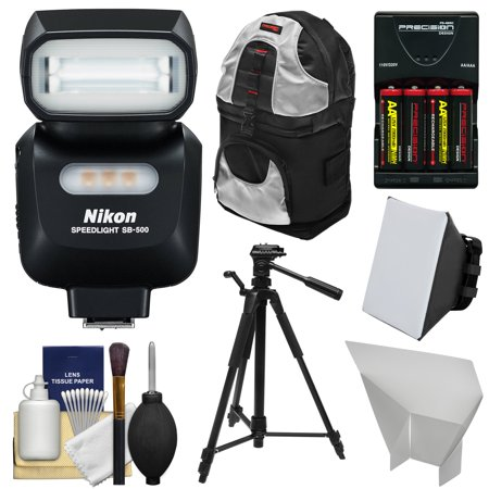 Nikon SB-500 AF Speedlight Flash & LED Video Light with Backpack + Tripod + Batteries & Charger + Softbox + Reflector