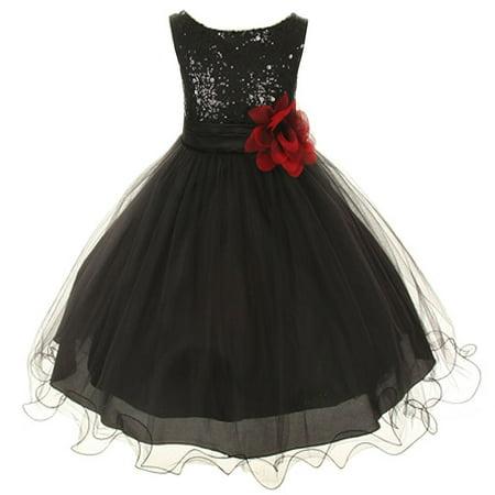 Kids Dream Little Girls Black Sequin Bodice Floral Overlaid Flower Girl Dress 2