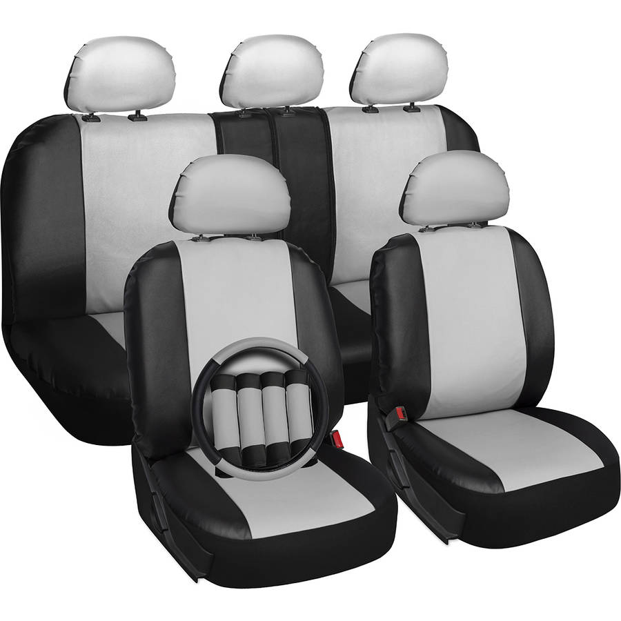 Oxgord 17-Piece Set Faux Leather/Auto Seat Covers Set, Airbag Compatible, 50/50 or 60/40 Rear Split Bench, Universal Fit for Car, Truck, or SUV, FREE Steering Wheel Cover, White