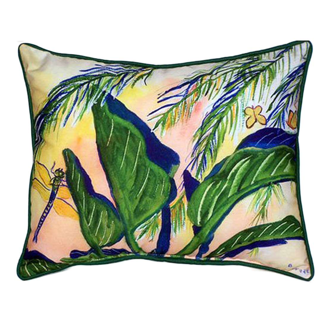 Betsy Drake Elephant Ear Plants Extra Large 20 X 24 Indoor / Outdoor Zippered Pillow