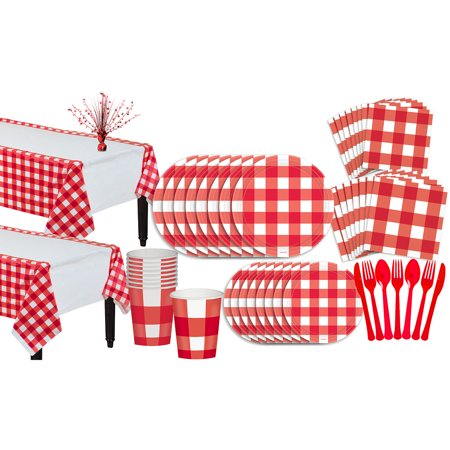 Party City American Summer Red Gingham Basic Party Kit for 16 Guests, 131 Pieces - Working At Party City