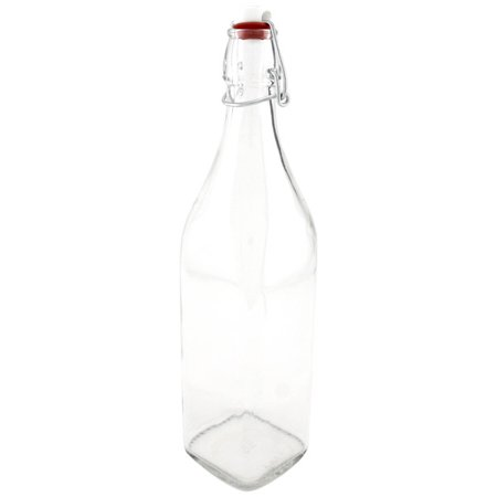 Bormioli Rocco Square Glass Swing Top Bottle Water Carafe - 33 3/4 oz