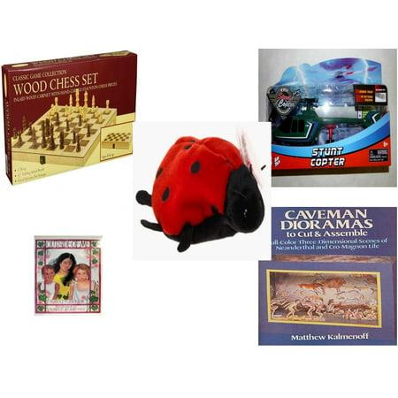 Children's Gift Bundle [5 Piece] -  Classic Wood Folding Chess Set  - Kidz Tech The Stunt Copter Aerobatics Helecopter  - TY Beanie Baby