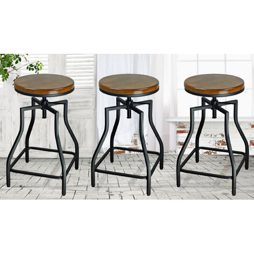 eHemco Adjustable Height Bar Stool (Set of 3)