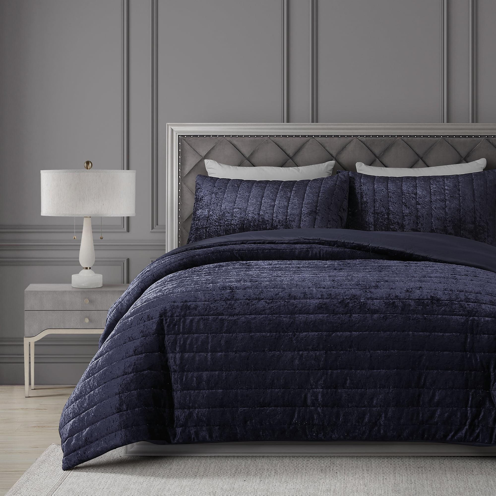 Better Homes And Gardens Becker Quilted Velvet Blue 3 Piece Comforter Set Queen Walmart Com Walmart Com