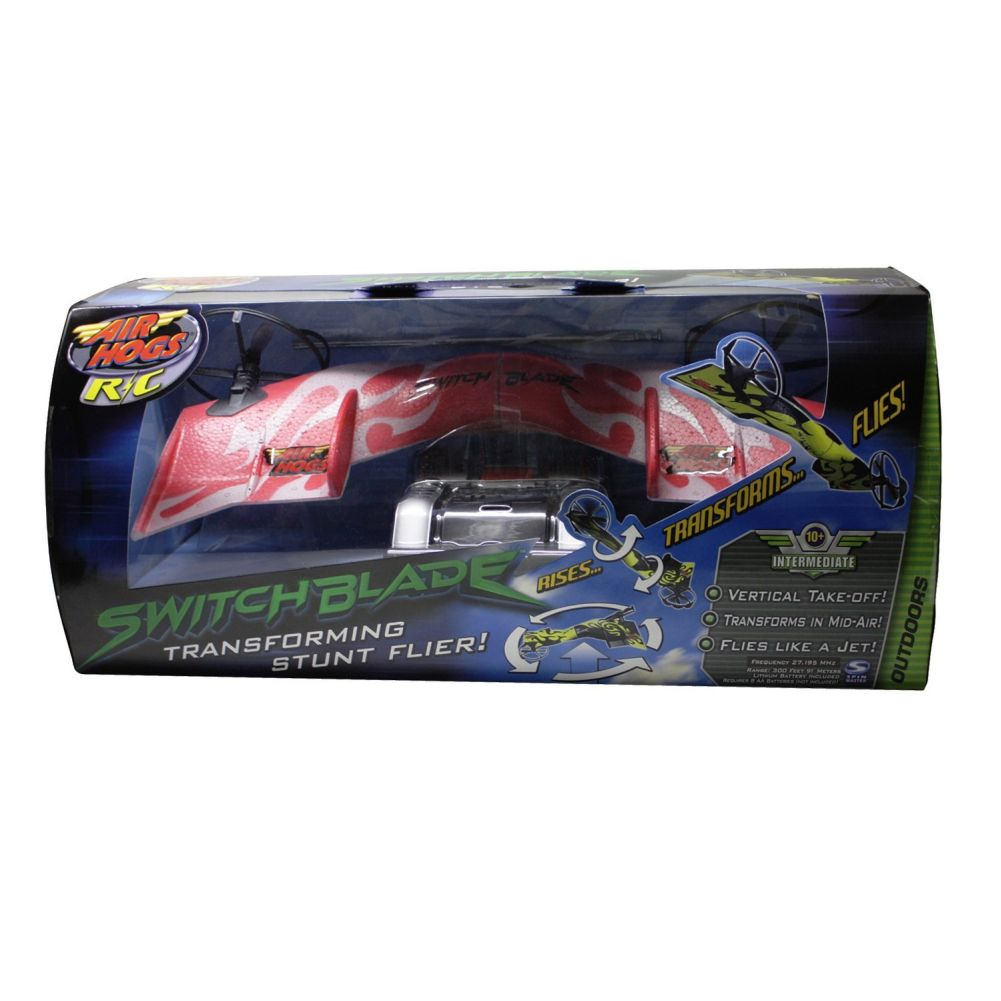 Air Hogs R C Switchblade Transforming Stunt Flier Flyer Red & Gray by