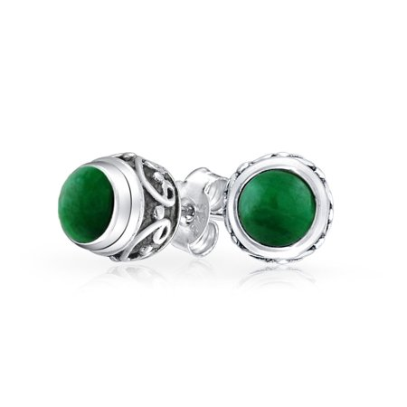 Bali Style Tiny Round Forest Green Malachite Stone Stud Earrings For Women Oxidized 925 Sterling Silver - image 3 de 3