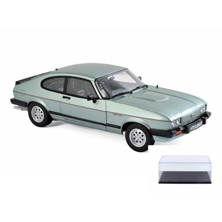 1982 Ford Car - Diecast Car & Display Case Package - 1982 Ford Capri MK.III 2.8 Injection Coupe, Light Green Metallic - Norev 182719 - 1/18 Scale Diecast Model Toy Car w/Display Case