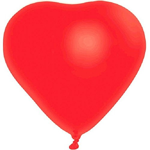 Amscan Valentines Day Bright Red Heart‑Shaped Latex Balloon Decoration, 6 in a pack, 12""