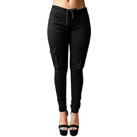JustVH Women's Casual Stretch Drawstring Skinny Cargo Jogger Pants High Waist Tie Butt Lift Pant with -
