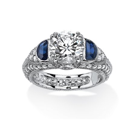 3.20 TCW Cubic Zirconia and Created Blue Sapphire Ring in Platinum Over .925 Sterling (Leather Platinum Ring)