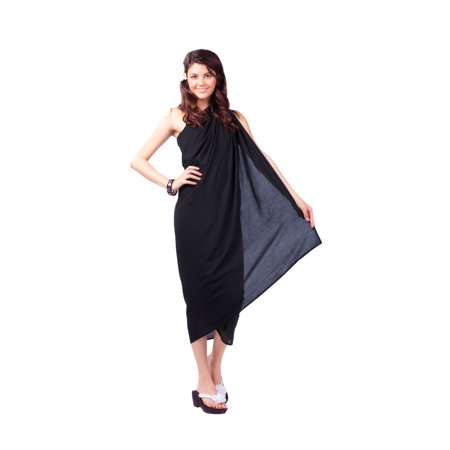 688c01e181 1 World Sarongs - 1 World Sarongs Womens Fringeless Swimsuit Cover-up Solid  Sarong in Black - Walmart.com