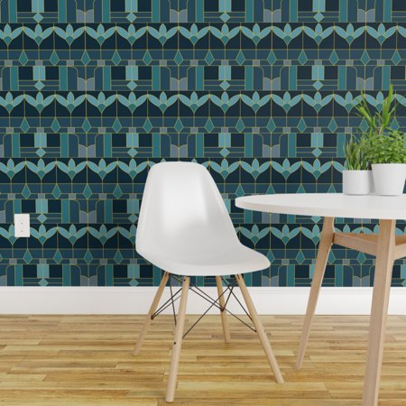 Peel and Stick Removable Wallpaper Floral Stained Window Art Deco Aqua