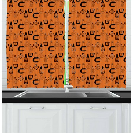Apothecary Curtains 2 Panels Set, Halloween Themed Potions Sketch Style Mystical Bottles Fantasy Theme, Window Drapes for Living Room Bedroom, 55W X 39L Inches, Burnt Orange Black, by - Windows 7 Halloween Themes 2017