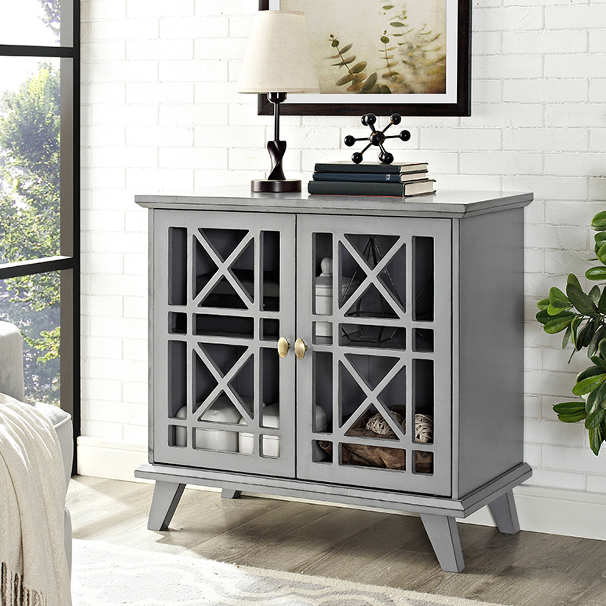 """42"""" Gwen Fretwork Accent Console - Grey (Multiple Colors Available)"""