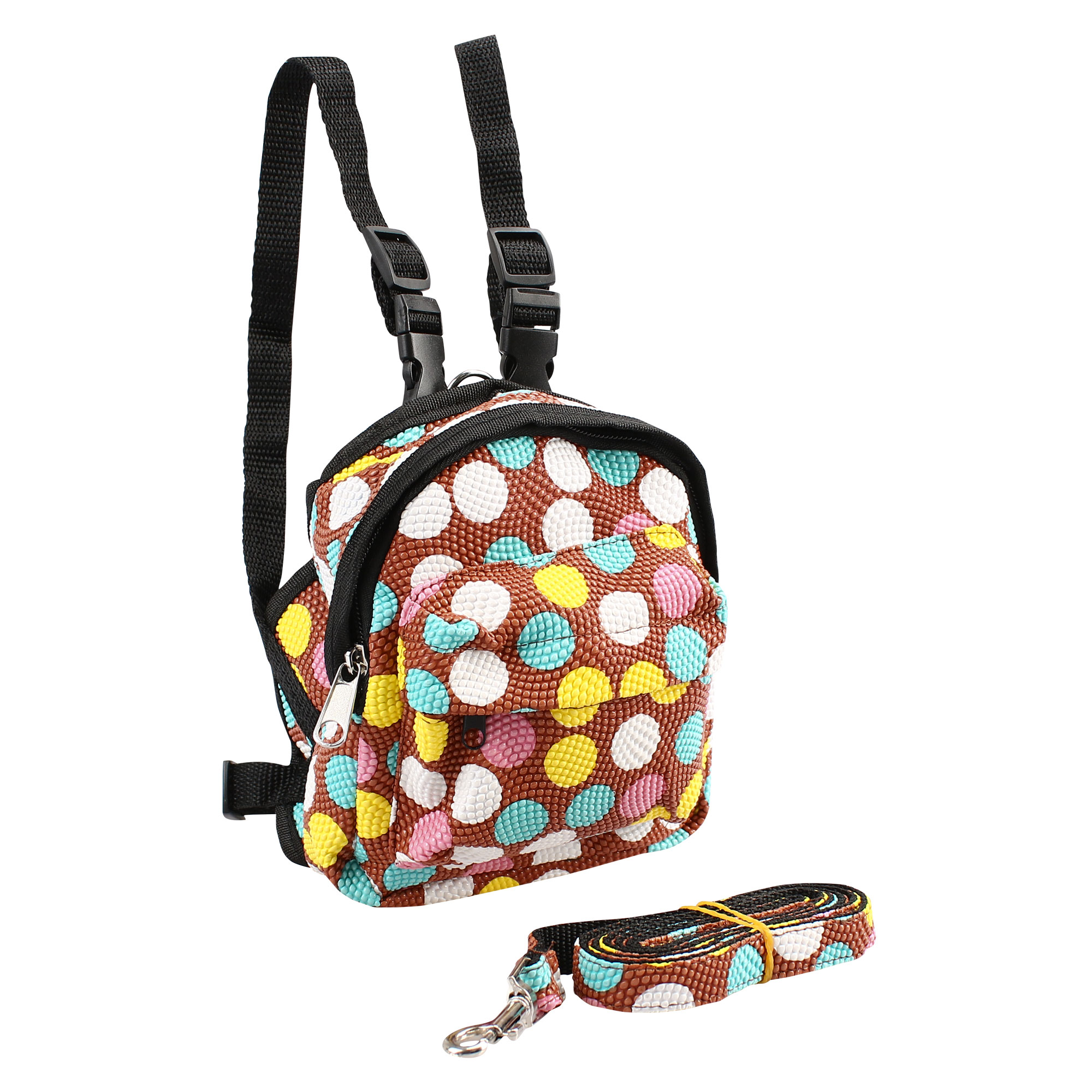Dog Pet Backpack Dot Pattern Carrier Bag Holder with Leash Rope for Outdoor Travel Hiking Camping Brown M