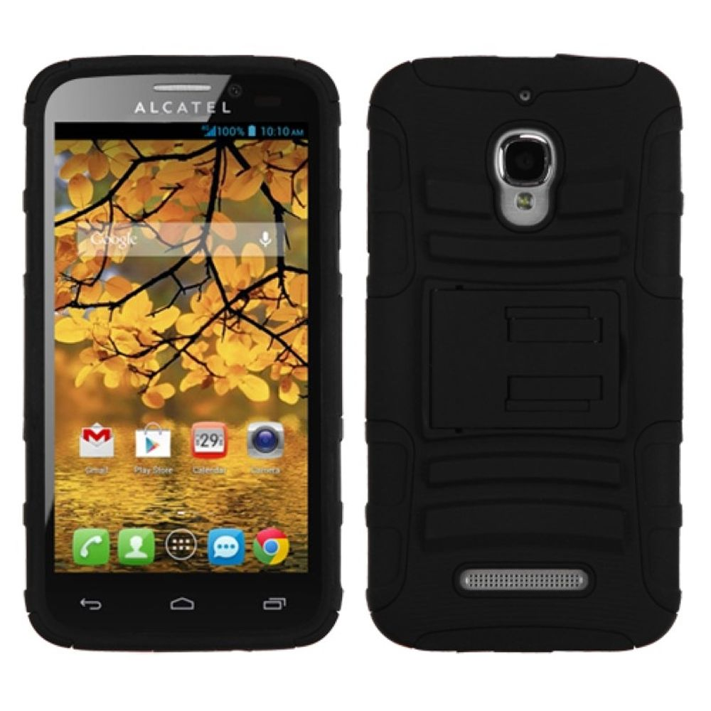 Insten Advanced Armor Hard Dual Layer Plastic Silicone Case w/stand For Alcatel One Touch Fierce 7024W - Black