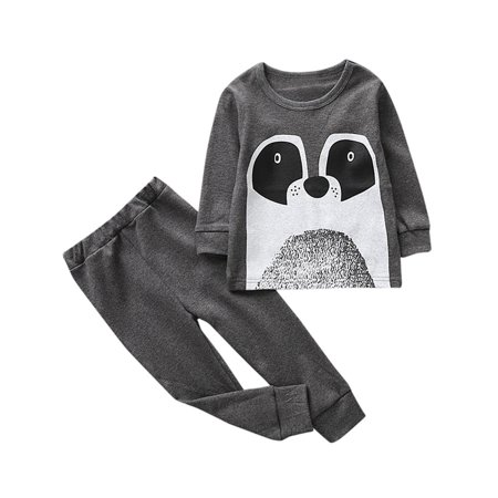 DZT1968 2PcsToddler Baby Girls Boys Kids Cartoon Outfits Clothes T-shirt Tops+Pants Set