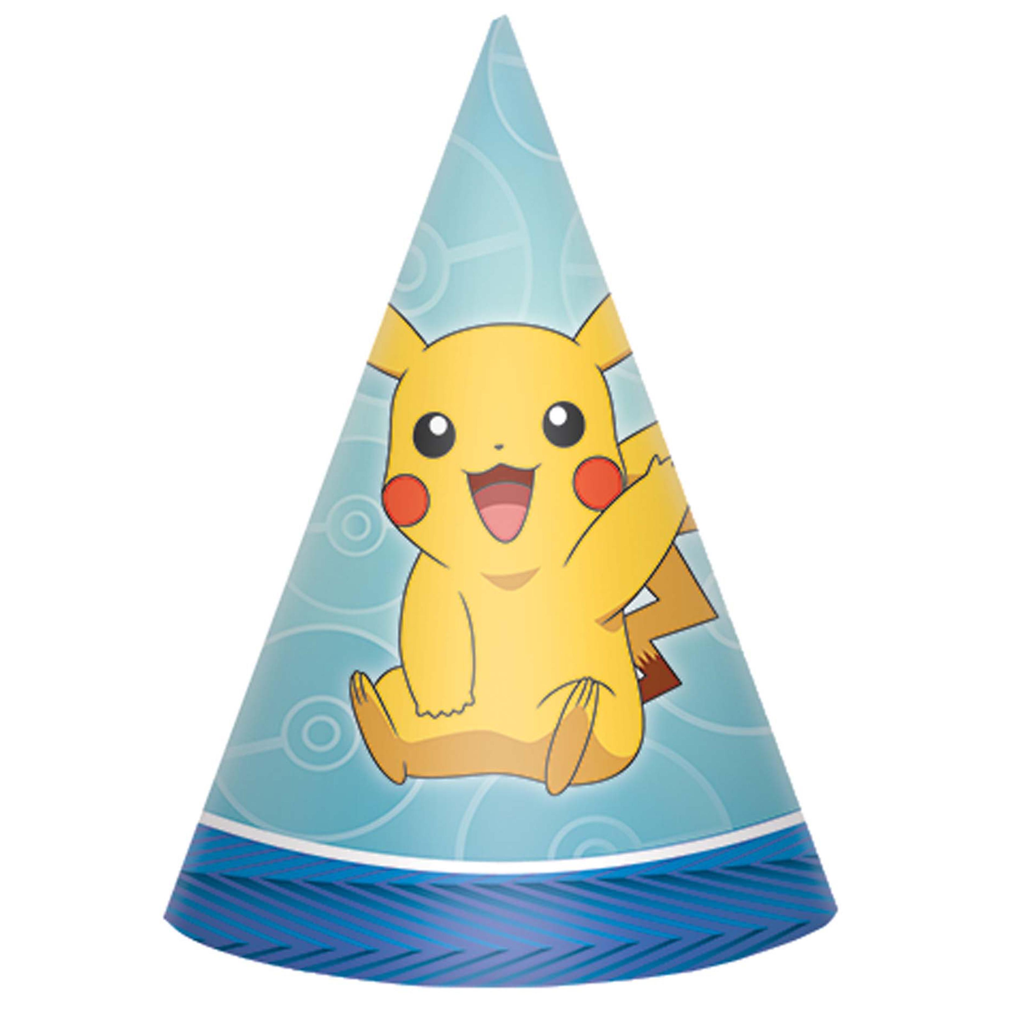 12 Pokemon Pikachu Party Cone Hats Birthday Tableware Boys Girls Nursery