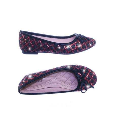sku by Link, Children Girls Fancy Round Toe Ballet Flat w Criss Cross Glitter - Girl Ballet Flats