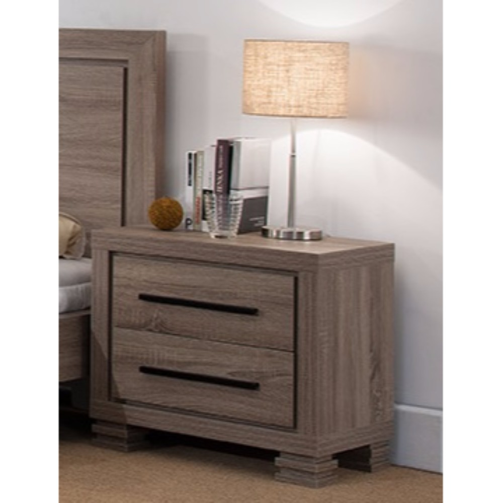 Luxurious Brown Finished Nightstand With Two Drawers And Top Display Stand. by Benzara