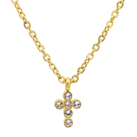 Piatella  Ladies Gold Tone Cross Necklace Adorned with Swarovski Elements Crystals