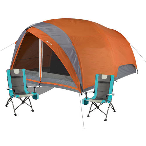 Ozark Trail 8-Person Dome Tunnel Tent with 2 High Back Chairs Value Bundle
