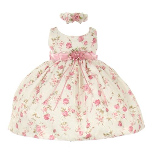 Baby Girls Pink Rose Printed Jacquard Occasion Dress 12M
