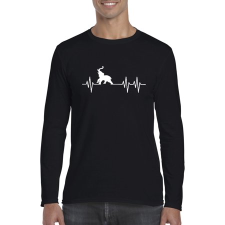 Artix Elephant Heartbeat Christmas Birthday Family Party Gift Match w Jeans Leggings Softsyle Long Sleeve Men's T-Shirt Tee