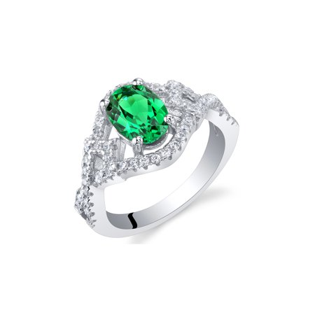 Simulated Emerald Sterling Silver Lace Ring Sizes 5 to 9 ()