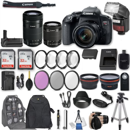 Canon EOS Rebel T7i DSLR Camera with EF-S 18-55mm f/4-5.6 IS STM Lens + EF-S 55-250mm f/4-5.6 IS STM Lens + 2Pcs 32GB Sandisk SD Memory + Automatic Flash + Battery Grip + Filter & Macro Kits +