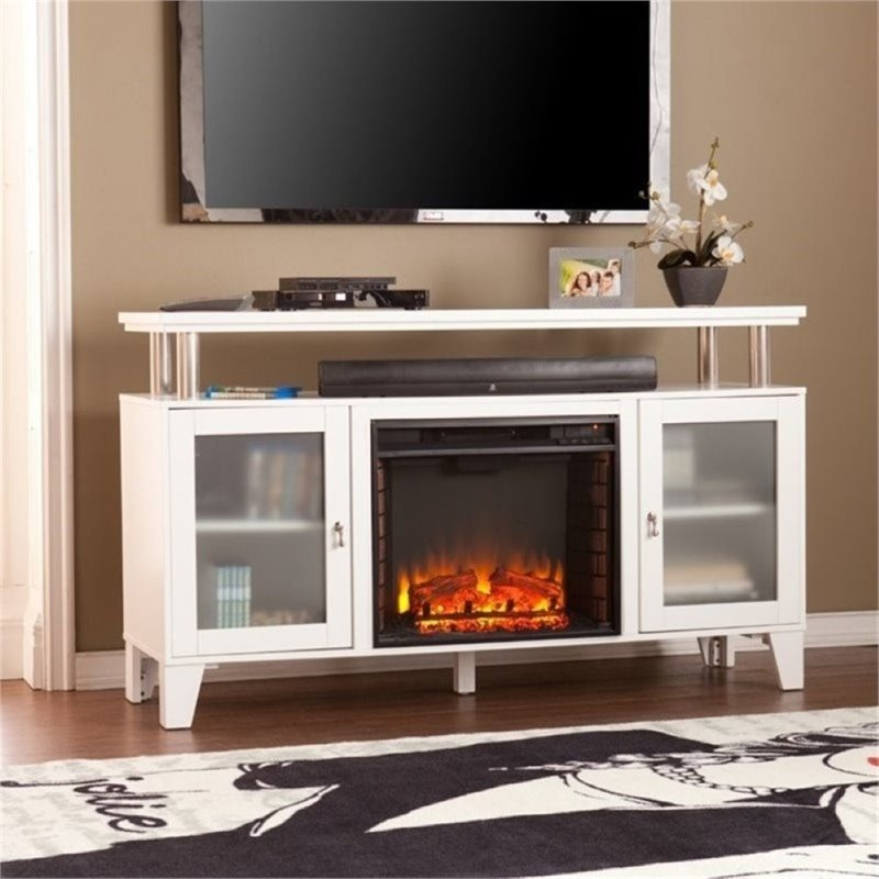 "Bowery Hill 60"" Fireplace TV Stand in White"