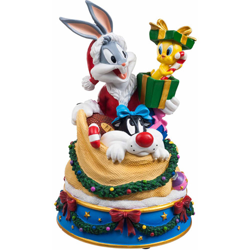San Francisco Music Box Company Bugs and Friends in Santa's Toy Bag Figurine Music Box