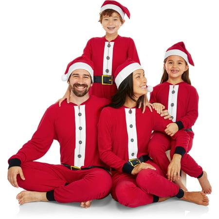 Holiday Family Pajamas Santa Onesie Sleepwear Union Suit with Santa Hat -  Walmart.com 78f674678