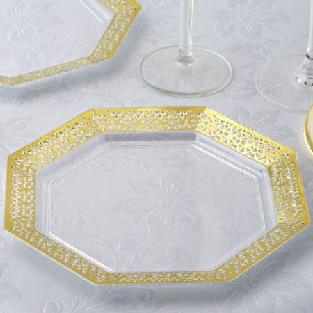 Plastic Catering Platters (BalsaCircle 12 pcs 8-Inch Clear with Gold Lace Rim Plastic Octagonal Plates - Disposable Wedding Party Catering)